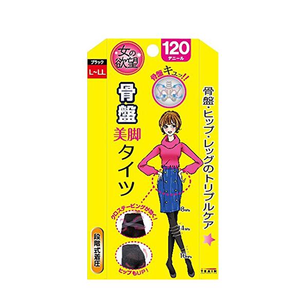 日本TRAIN/女之欲望美腿袜120D L-LL 1双/盒